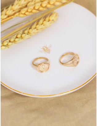 Chevalière Lys, Plaqué or